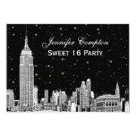 NYC Skyline Etch Starry DIY BG Color SQ Sweet 16 H 5x7 Paper Invitation Card