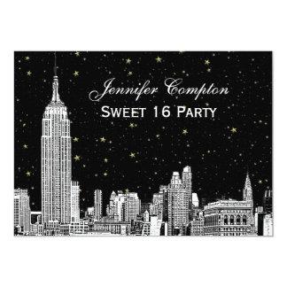 NYC Skyline Etch Starry DIY BG Color SQ Sweet 16 H Card