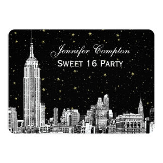 NYC Skyline Etch Starry DIY BG Color SQ Sweet 16 H Card