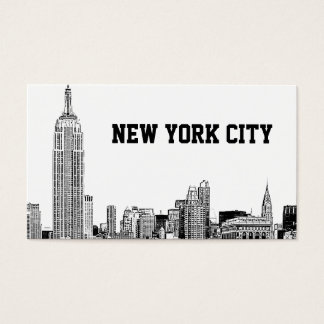 NYC Skyline Etched 01 Business Card