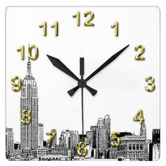 NYC Skyline Etched 01 Clocks