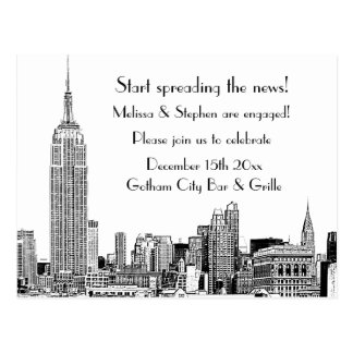 NYC Skyline Etched 01 Engagement Party Postcard
