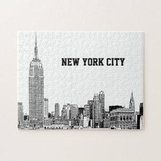 NYC Skyline Etched 01 Jigsaw Puzzle
