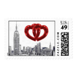 NYC Skyline Etched 01 Red Entwined Heart Postage