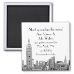 NYC Skyline Etched 01 Save the Date 2 Inch Square Magnet