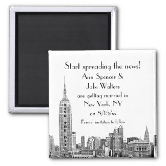 NYC Skyline Etched 01 Save the Date Magnet