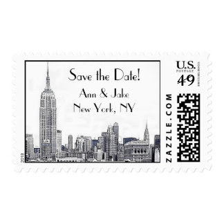 NYC Skyline Etched 01 Save the Date Postage 2