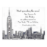 NYC Skyline Etched 01 Save the Date Postcard