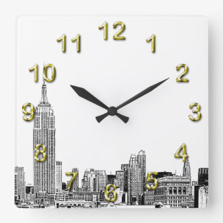 NYC Skyline Etched 01 Square Wall Clock