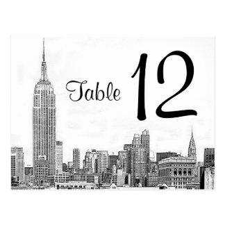 NYC Skyline Etched 01 Table Number Postcard