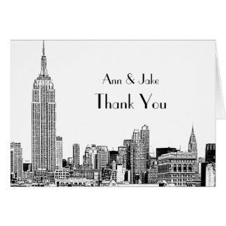 NYC Skyline Etched 01 Thank You Stationery Note Card