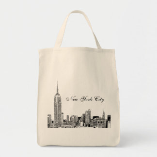 NYC Skyline Etched 01 Tote Bag