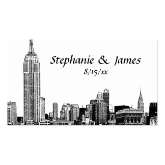 NYC Skyline Etched 01B Place Cards Business Card Template