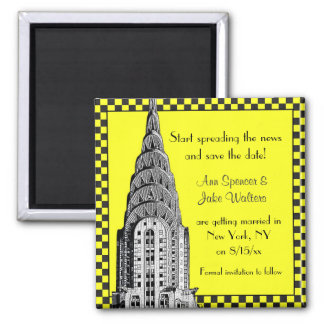 NYC Skyline Etched Chrysler Checkrd Taxi Save Date 2 Inch Square Magnet