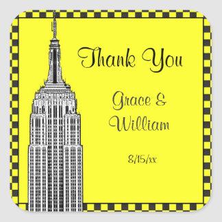 NYC Skyline Etched ESB Checker Favor Tag Thank You Square Sticker