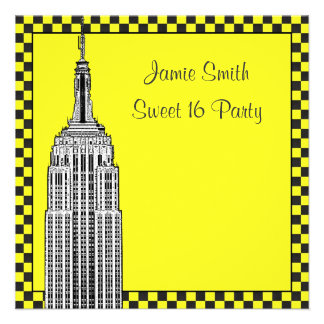 NYC Skyline Etched ESB Checkered Taxi 2 Sweet 16 Invitations