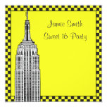 NYC Skyline Etched ESB Checkered Taxi 2 Sweet 16 5.25x5.25 Square Paper Invitation Card