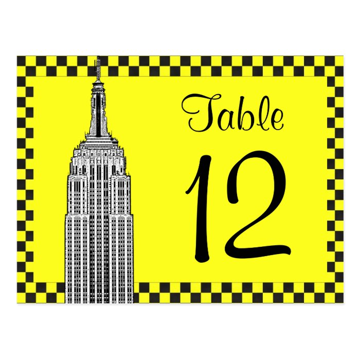 NYC Skyline Etched ESB Checkrd Taxi Table Number Postcard