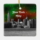 NYC Skyline Etched ESB Red and Green Starry Xmas Ceramic Ornament