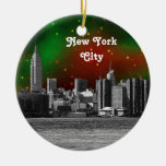 NYC Skyline Etched ESB Red and Green Starry Xmas Double-Sided Ceramic Round Christmas Ornament