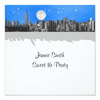 NYC Skyline Etched Look Moon Lt Blue 2 Sweet 16 SQ Announcement