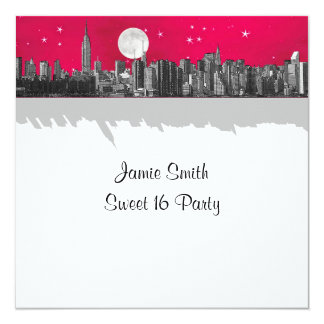 NYC Skyline Etched Look Moon Pink 2 Sweet 16 SQ Card