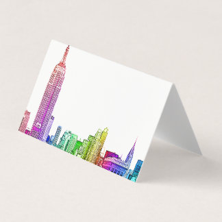 NYC Skyline Etched Look Rainbow Escort Cards