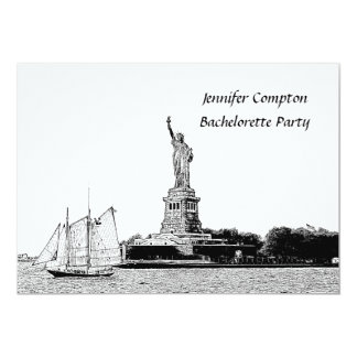 NYC Skyline Etched St of Liberty Bachelorette Pty Card