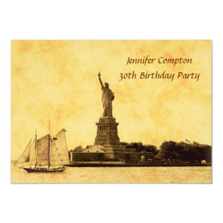 NYC Skyline Etched St of Liberty Birthday Party #2 Card