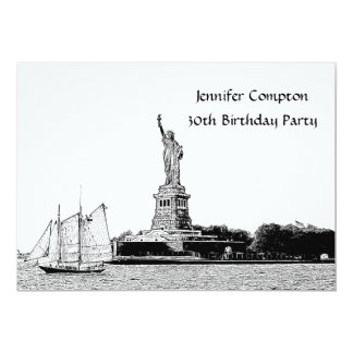 NYC Skyline Etched St of Liberty Birthday Party Card