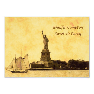 """NYC Skyline Etched St of Liberty Sweet 16 Party #2 5"""" X 7"""" Invitation Card"""