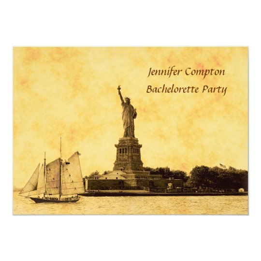 NYC Skyline Etched St of Libty Bachelorette Pty #2 Card