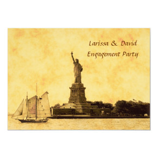 NYC Skyline Etched St of Libty Engagement Party #2 Card