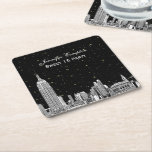 """NYC Skyline Etched Starry DIY BG Color SQ Coasters<br><div class=""""desc"""">NYC Skyline Etched Look 01 Invitation Suite Black &amp; White, Starry Sky, Black Background Shown: Choose Your Background Color - Coasters Elegant, stylish, chic customizable invitations and accessories with an iconic view of the New York City skyline, featuring an etched look photo of the Empire State Building and Chrysler Building...</div>"""