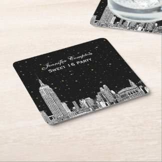 NYC Skyline Etched Starry DIY BG Color SQ Coasters Square Paper Coaster