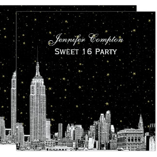 NYC Skyline Etched Starry DIY BG Color SQ Sweet 16 Card