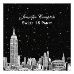 NYC Skyline Etched Starry DIY BG Color SQ Sweet 16 Personalized Invitation