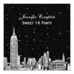 NYC Skyline Etched Starry DIY BG Color SQ Sweet 16 Invitation