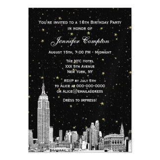 NYC Skyline Etched Starry DIY BG Color SQ Sweet 16 Magnetic Card