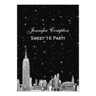 NYC Skyline Etched Starry DIY BG Color Sweet 16 Card