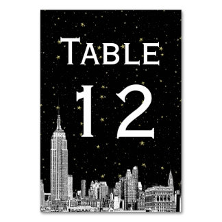 NYC Skyline Etched Starry DIY BG SQ Table Number