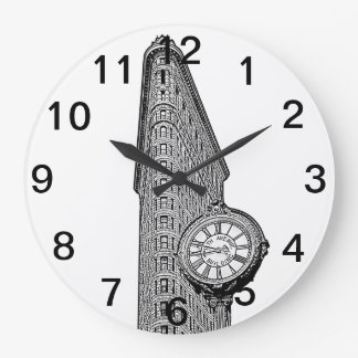 NYC Skyline: Flatiron Building and Clock BW