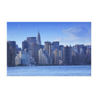 NYC Skyline From East River: Chrysler, Met Life Canvas Prints
