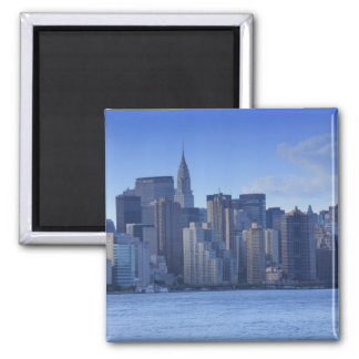 NYC Skyline From East River: Chrysler, Met Life 2 Inch Square Magnet