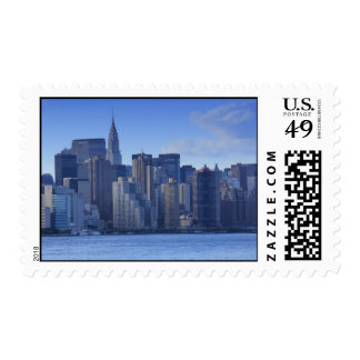 NYC Skyline From East River: Chrysler, Met Life Postage Stamps