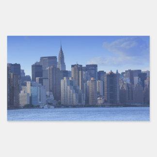 NYC Skyline From East River: Chrysler, Met Life Rectangular Sticker