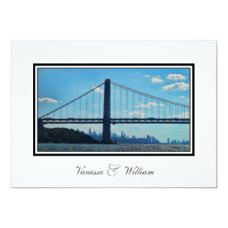 NYC Skyline, George Washington Bridge Wedding 5x7 Paper Invitation Card