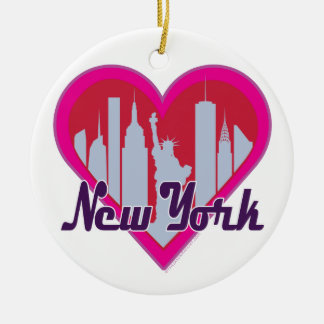NYC Skyline Heart Double-Sided Ceramic Round Christmas Ornament