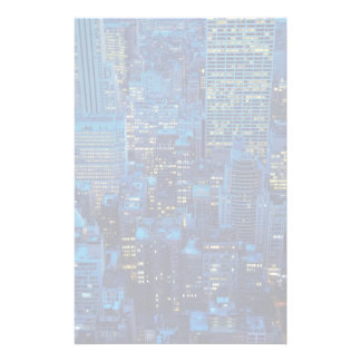 NYC Skyline, high angle view at dusk Personalized Stationery