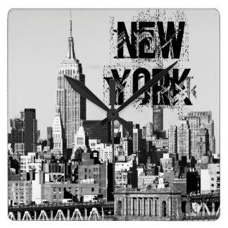 NYC Skyline II Square Wall Clock